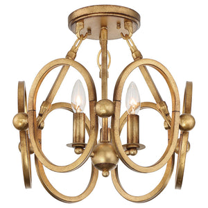 Clairpointe 3 Light Semi-Flush Mount in Pandora Gold Leaf By Metropolitan N6883-293