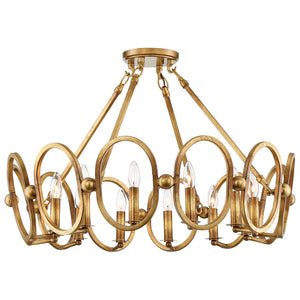 Clairpointe 12 Light Semi-Flush Mount in Pandora Gold Leaf By Metropolitan N6885-293