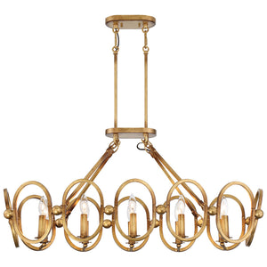 Clairpointe 10 Light Island Lighting in Pandora Gold Leaf By Metropolitan N6887-293