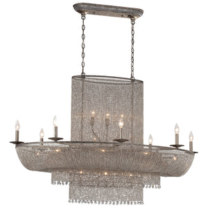 Shimmering Falls 25 Light Island Lighting in Antique Silver By Metropolitan N7222-578