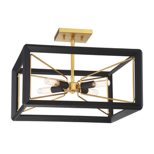 Sable Point 4 Light Semi-Flush Mount in Sand Black With Honey Gold By Metropolitan N7853-707