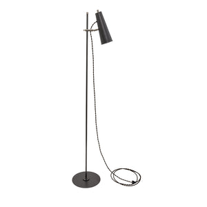 Norton Adjustable LED Floor Lamp in Granite with Satin Nickel Accents