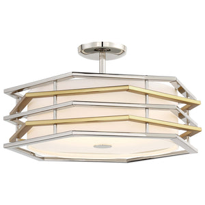 Levels 1 Light LED Semi Flush in Polished Nickel W/Honey Gold Finish By George Kovacs P1072-657-L
