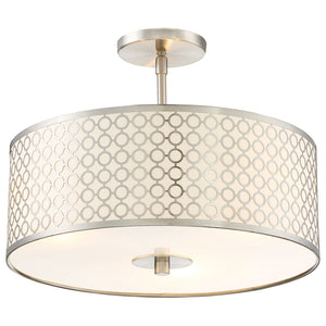 Dots 3 Light Semi Flush in Brushed Nickel Finish By George Kovacs P1267-084