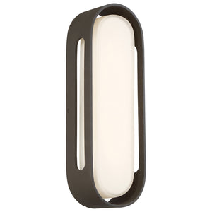 Floating Oval 1 Light LED Outdoor Wall Sconce in Pebble Bronze Finish By George Kovacs P1282-286-L