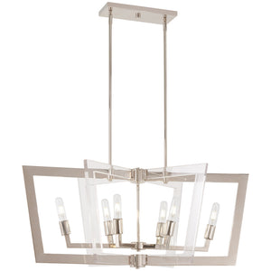 Crystal Chrome 6 Light Island Light in Polished Nickel Finish By George Kovacs P1376-613