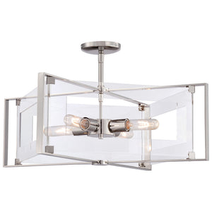 Crystal Clear 4 Light Semi Flush in Polished Nickel Finish By George Kovacs P1403-613
