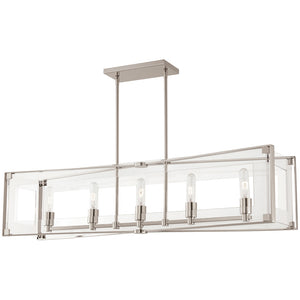 Crystal Clear 5 Light Island Light in Polished Nickel Finish By George Kovacs P1405-613