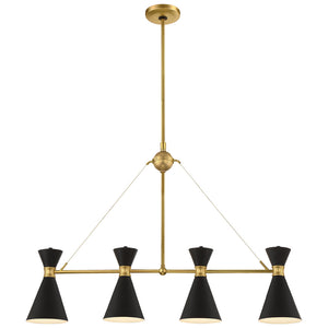 Conic 4 Light Island Light in Honey Gold Finish By George Kovacs P1824-248