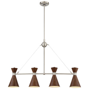 Conic 4 Light Island Light in Distressed Koa Finish By George Kovacs P1824-651