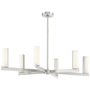 Tube 6 Light LED Island Light in Brushed Nickel Finish By George Kovacs P1857-084-L