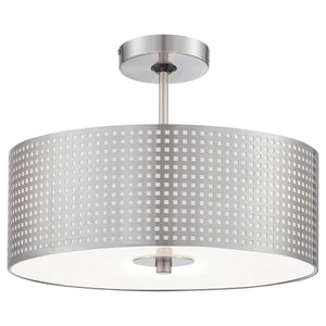 Grid 3 Light Semi Flush in Brushed Nickel Finish By George Kovacs P5747-084