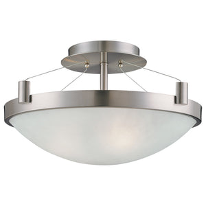 Suspended 3 Light Semi Flush in Brushed Nickel Finish By George Kovacs P591-084