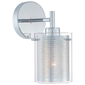 Grid 1 Light Wall Sconce in Chrome Finish By George Kovacs P962-077