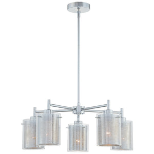 Grid 5 Light Chandelier in Chrome Finish By George Kovacs P965-077