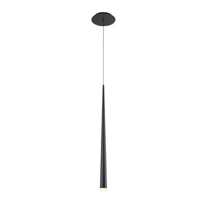 Cascade 28in LED Single Light Etched Glass Pendant 3500K in Black