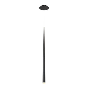 Cascade 37in LED Single Light Etched Glass Pendant 3500K in Black