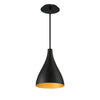 Copa Narrow 9in LED Pendant 3000K in Black Gold Ribbed