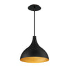 Copa Medium 13in LED Pendant 3000K in Black Gold Ribbed