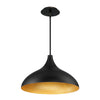 Copa Wide 17in LED Pendant 3000K in Black Gold Ribbed