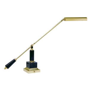 Counter Balance Polished Brass and Black Marble Piano/Desk Lamp