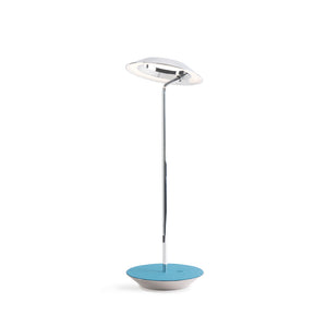 Royyo Desk Lamp, Chrome body, Azure Felt base plate RYO-SW-CRM-AZF-DSK
