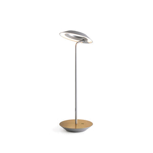Royyo Desk Lamp, Silver body, Brushed Brass base plate  RYO-SW-SIL-BRS-DSK