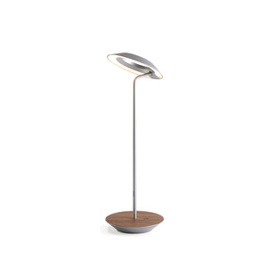 Royyo Desk Lamp, Silver body, Oiled Walnut base plate RYO-SW-SIL-OWT-DSK