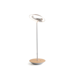 Royyo Desk Lamp, Silver body, White Oak base plate RYO-SW-SIL-WOK-DSK