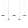 Royyo Pendant (linear with 5 pendants), Chrome, Matte White Canopy RYP-L5-SW-CRM