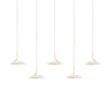 Royyo Pendant (linear with 5 pendants), Matte White with Gold, Matte White Canopy RYP-L5-SW-MWG