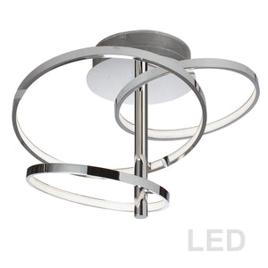 3 Light LED Semi-Flush Mount in Polished Chrome by Dainolite VAL-253SF-PC