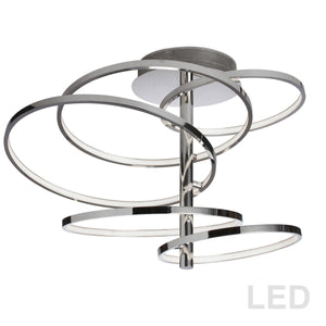 5 Light LED Semi-Flush Mount in Polished Chrome by Dainolite VAL-285SF-PC