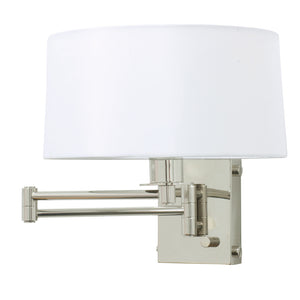 Wall Swing Lamp in Polished Nickel with Full Range Dimmer