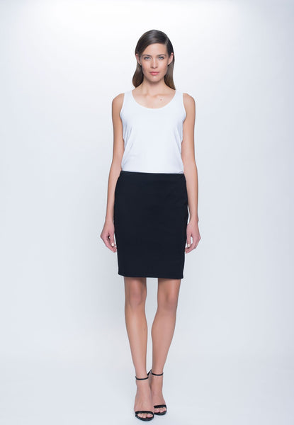outfit featuring Ponte Straight Skirt in black by Picadilly Canada