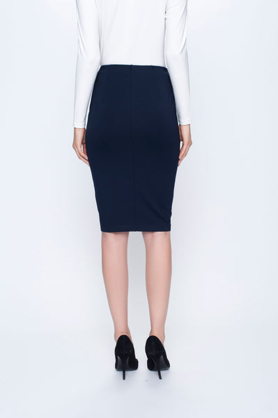 back view Pencil Skirt in deep navy by picadilly canada