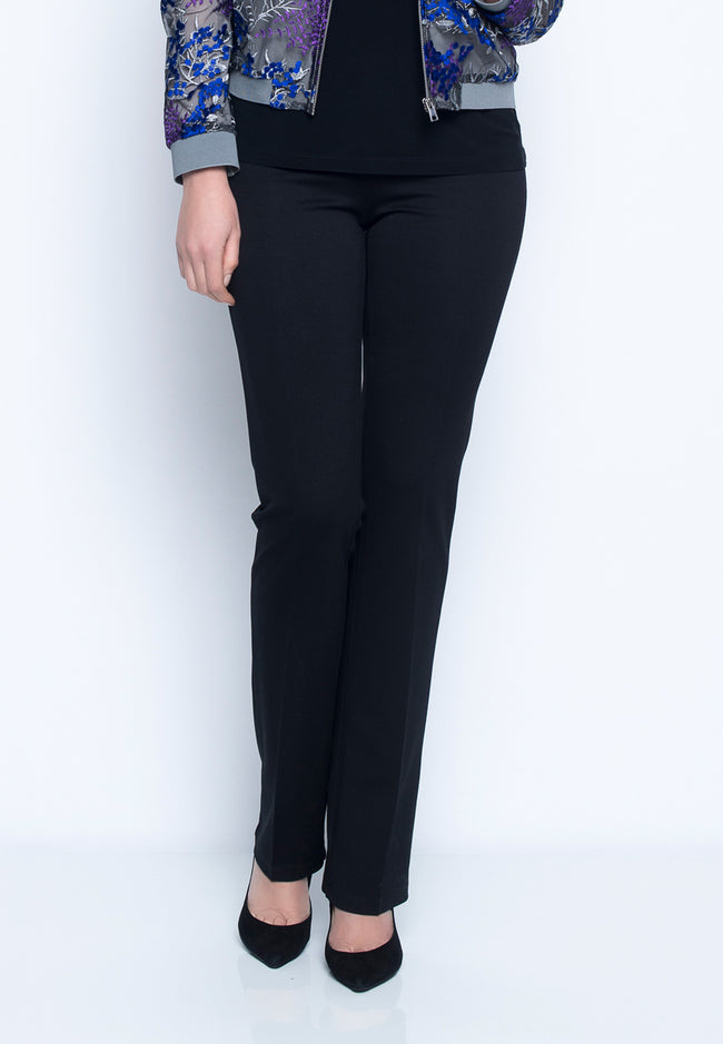 Pull-On Straight Leg Pant in black by Picadilly Canada
