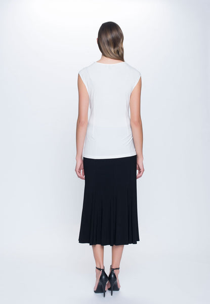 back view of outfit featuring Sweetheart Neckline Top in white by Picadilly Canada