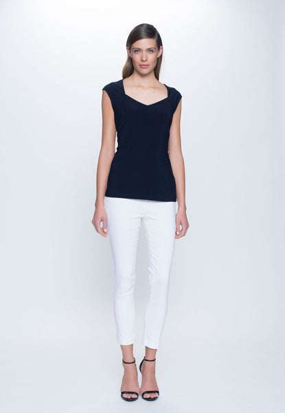 outfit of Sweetheart Neckline Top in deep navy by Picadilly Canada