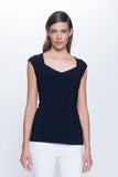Sweetheart Neckline Top in deep navy by Picadilly Canada