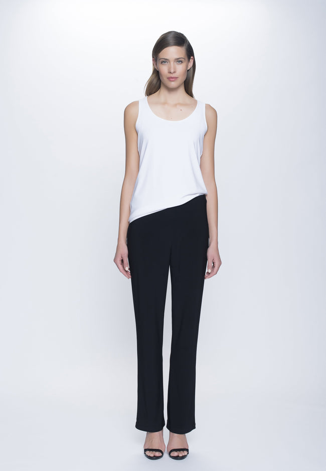 outfit of Pull-On Straight Leg Pant Petite Size in black by Picadilly Canada