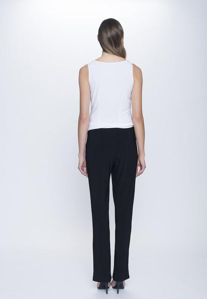 back view of the outfit of Pull-On Straight Leg Pant Petite Size in black by Picadilly Canada