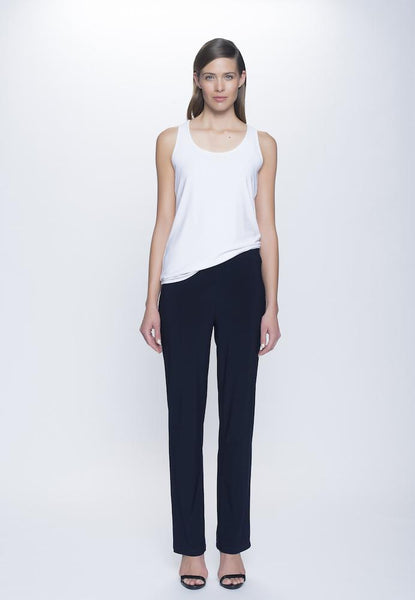 Pull-On Straight Leg Pant Petite Size in deep navy by Picadilly Canada