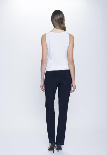 back view of Stretchy Pull-On Straight Leg Pant in deep navy by Picadilly Canada