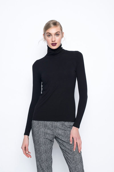 Long sleeve Turtleneck Top in black by Picadilly canada