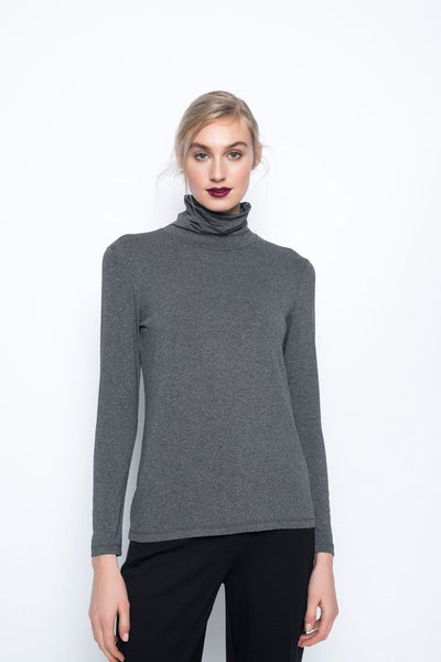 Long sleeve Turtleneck Top in grey by Picadilly canada