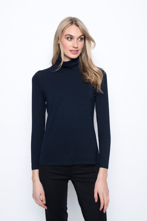 Long sleeve Turtleneck Top in deep navy by Picadilly canada