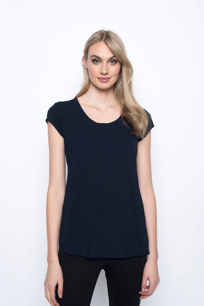 Scoop Neck Short Sleeve Top in deep navy by Picadilly Canada