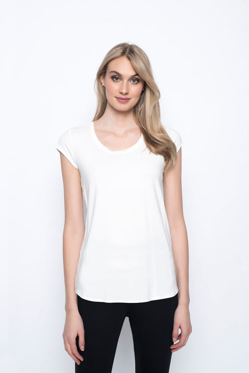 Scoop Neck Short Sleeve Top in white by Picadilly Canada