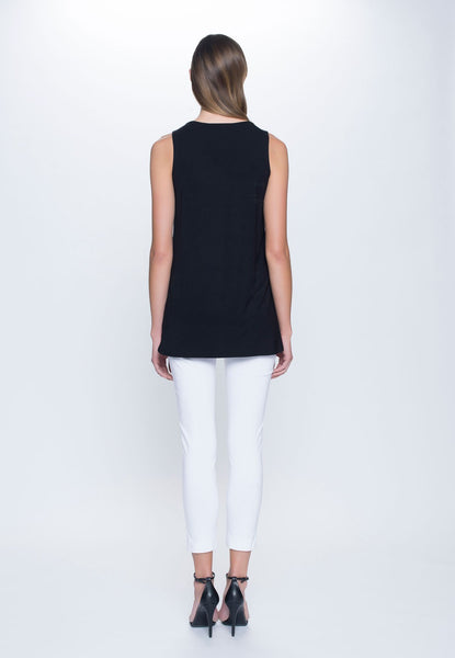 back view of outfit featuring Curved Hem Tank Top in black by Picadilly canada